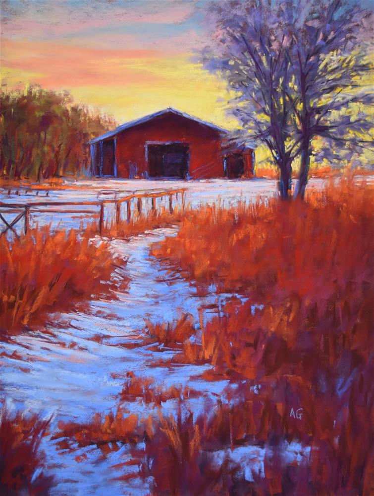 """White Farm"" original fine art by Alejandra Gos"
