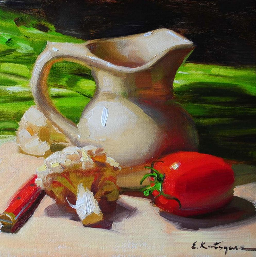 """Cauliflower and Tomato"" original fine art by Elena Katsyura"