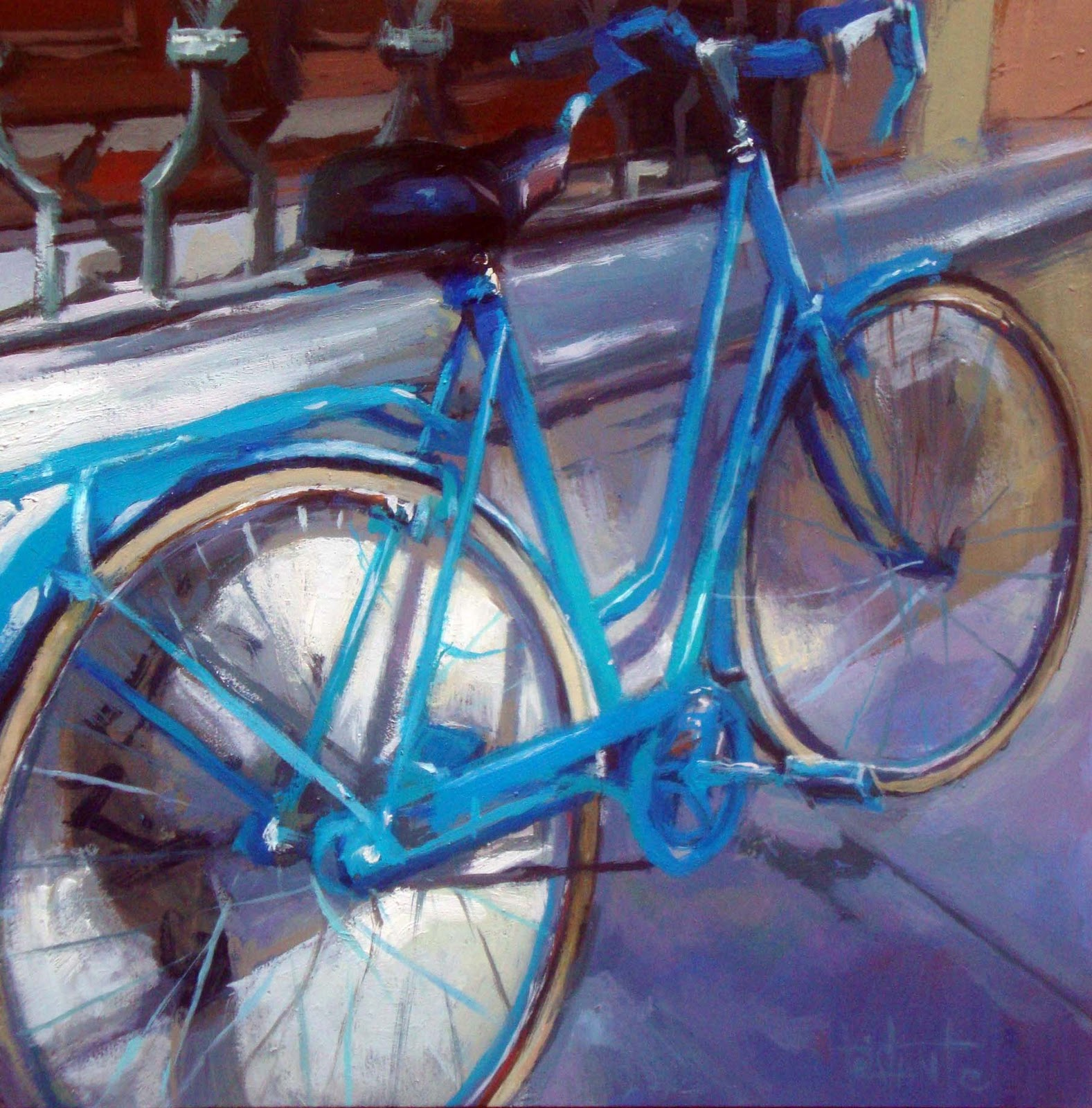 """Cerulean blue bike"" original fine art by Víctor Tristante"