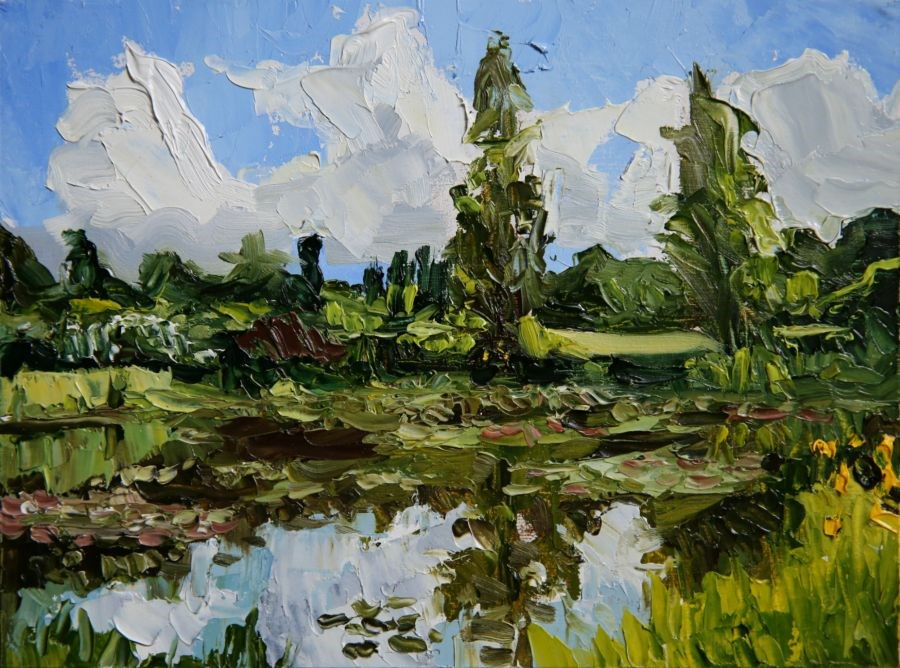 """Lily Pond"" original fine art by Jethro Knight"