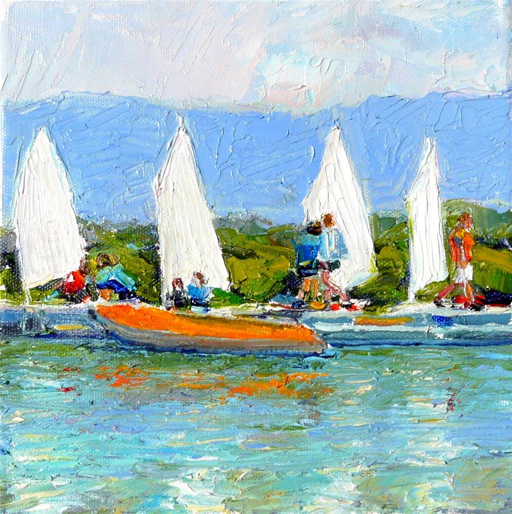 """Sail Boat Class,seascape,oil on canvas,8x8,price$250"" original fine art by Joy Olney"