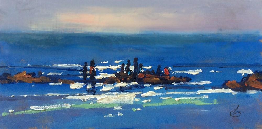 """SEASCAPE SPARKLE"" original fine art by Tom Brown"