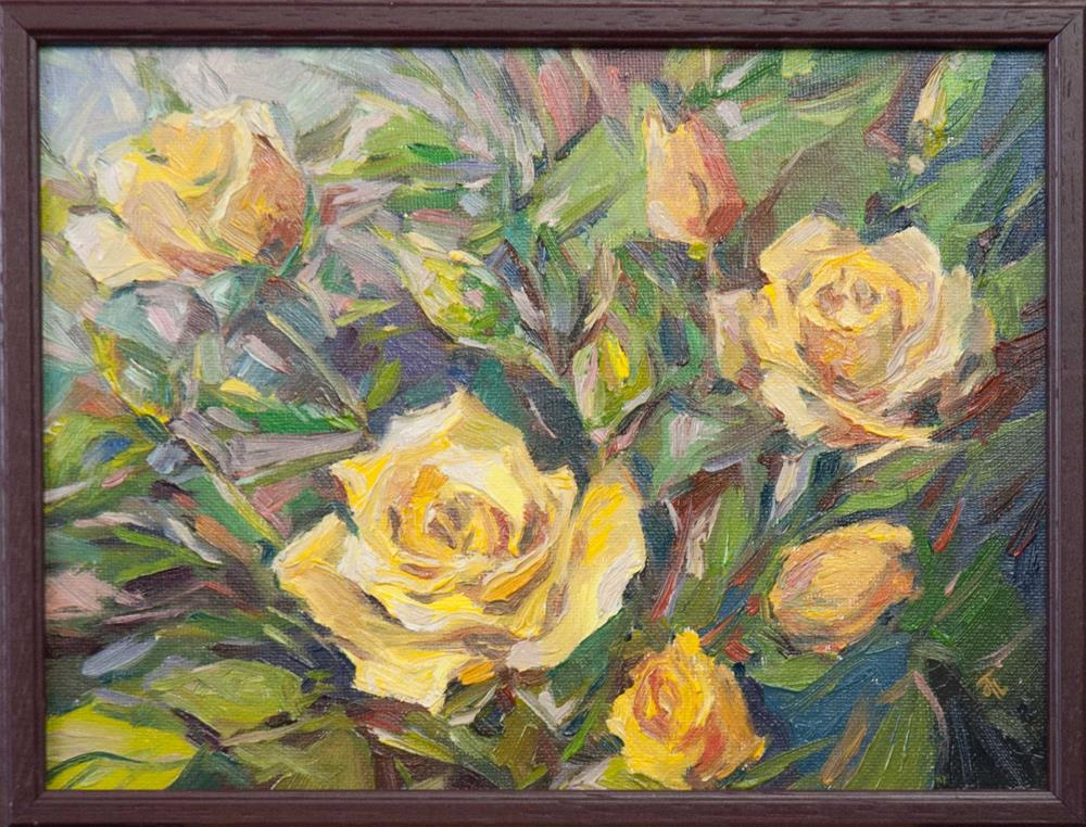 """Yellow roses"" original fine art by Olga Touboltseva-Lefort"