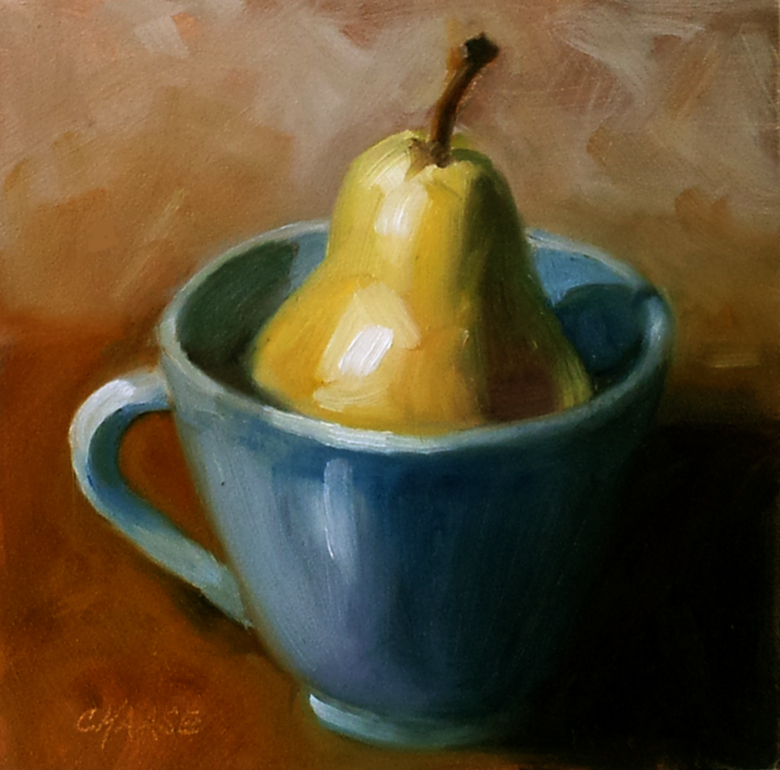 """Pear in Blue Cup"" original fine art by Cindy Haase"