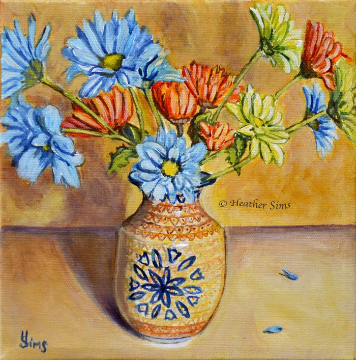 """Vase of Daisies: Polish Pottery LXXXVIII"" original fine art by Heather Sims"