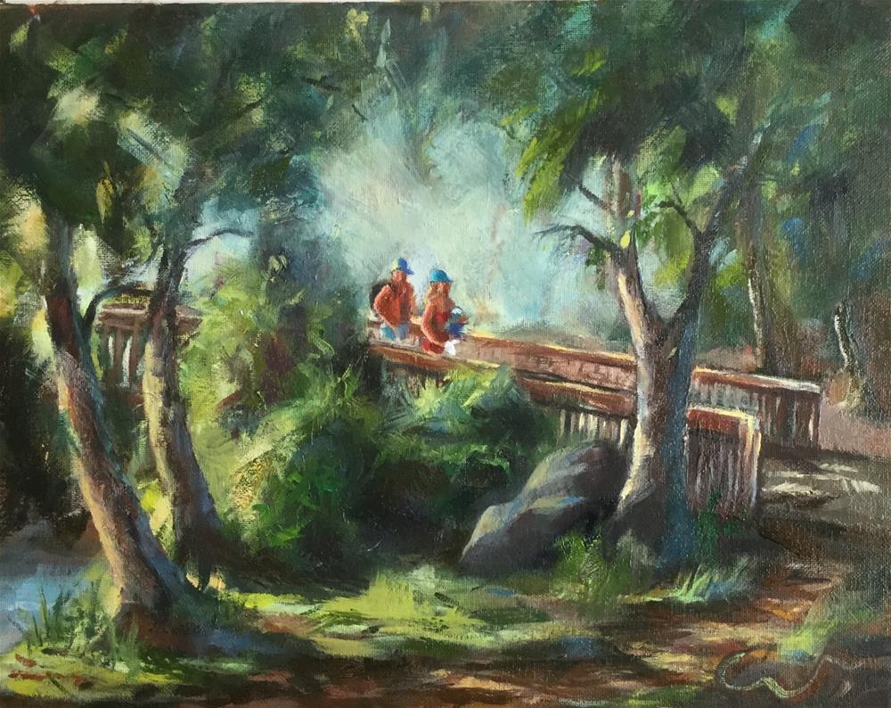 """George Rogers Park Bridge Lake Oswego OR"" original fine art by Sharon Abbott-Furze"
