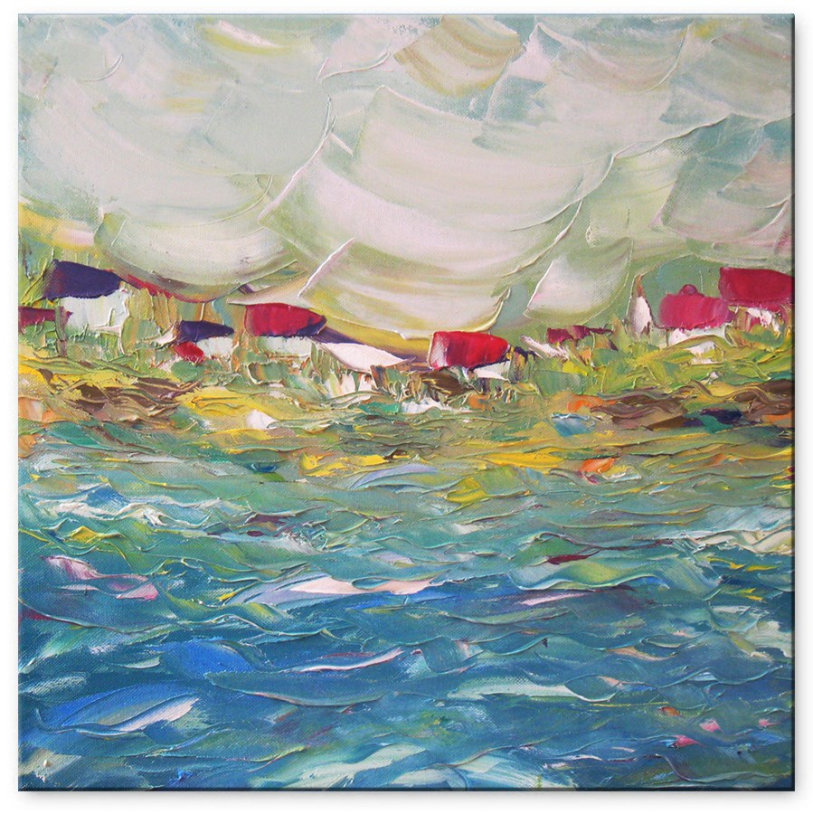 """Fishing village"" original fine art by Elena Lunetskaya"
