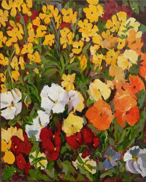 """Flower Planter"" original fine art by Darlene Young"