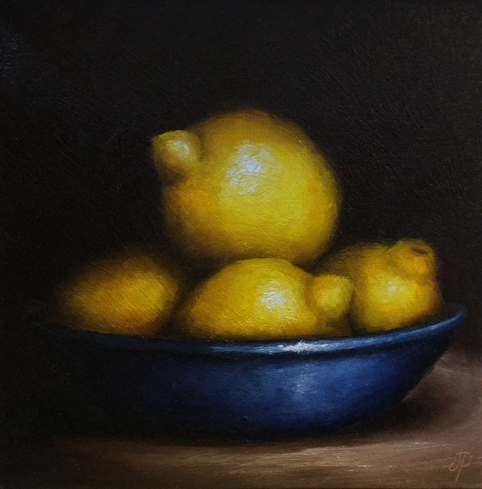 """Lemons in Blue"" original fine art by Jane Palmer"