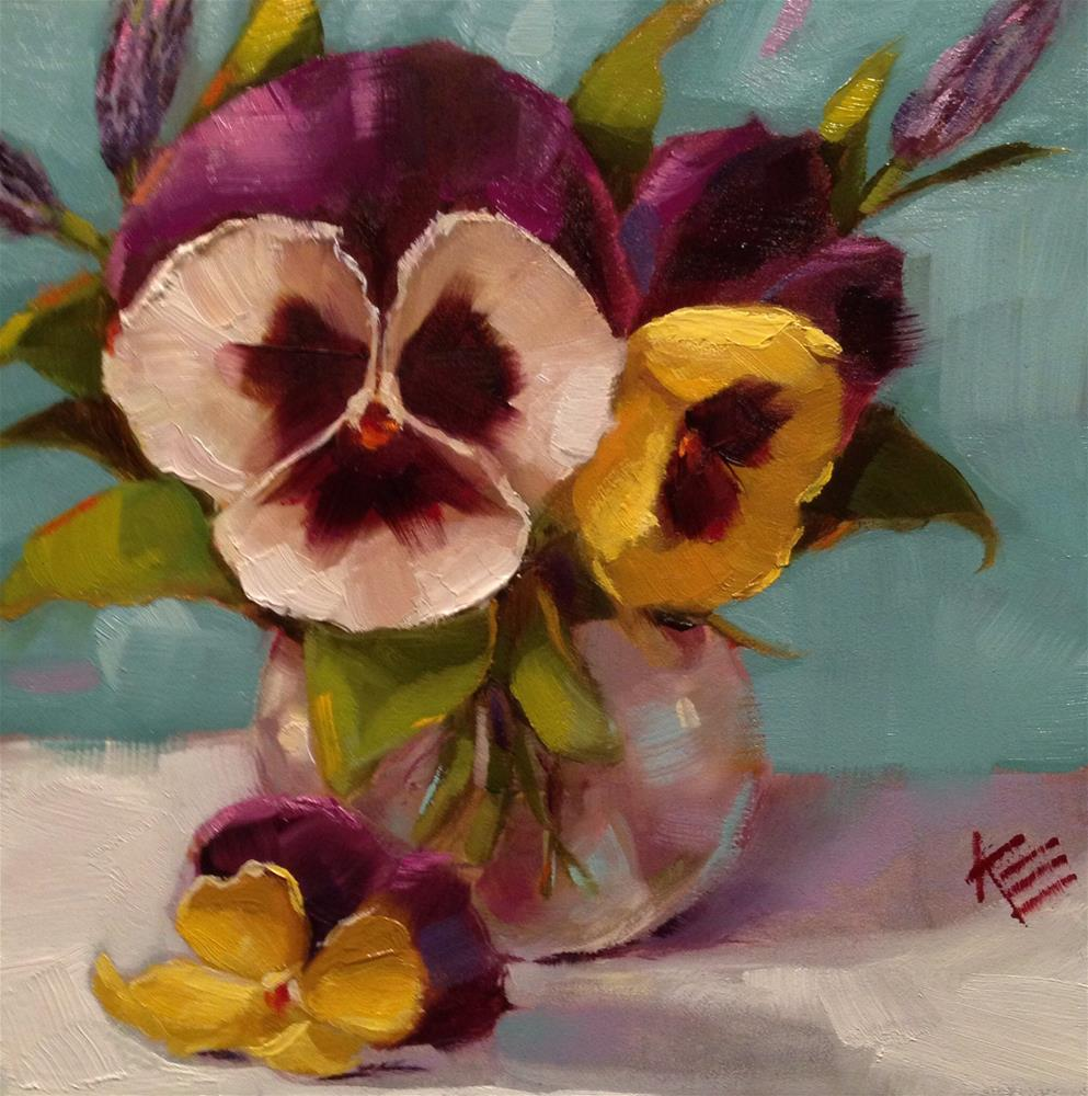 """Pansies & Lavender"" original fine art by Krista Eaton"