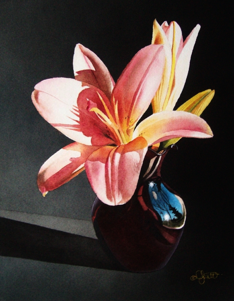 """""""Still Life with Pink Lily"""" original fine art by Jacqueline Gnott, TWSA, WHS"""