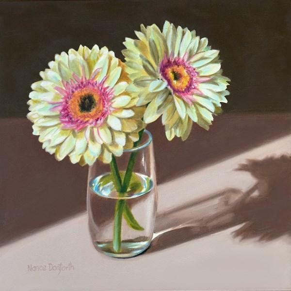 """Two Gerbera Daisies"" original fine art by Nance Danforth"