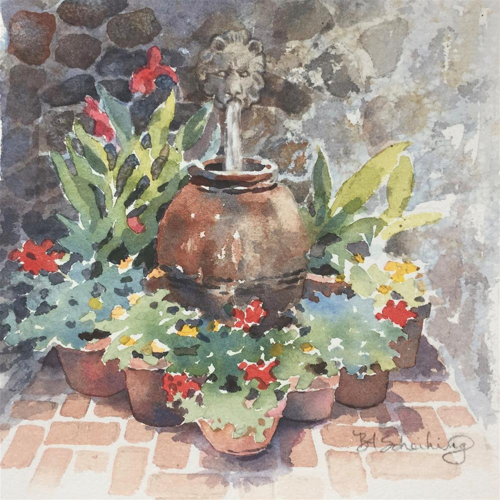 """Fountain Garden"" original fine art by Barbara Scheihing"