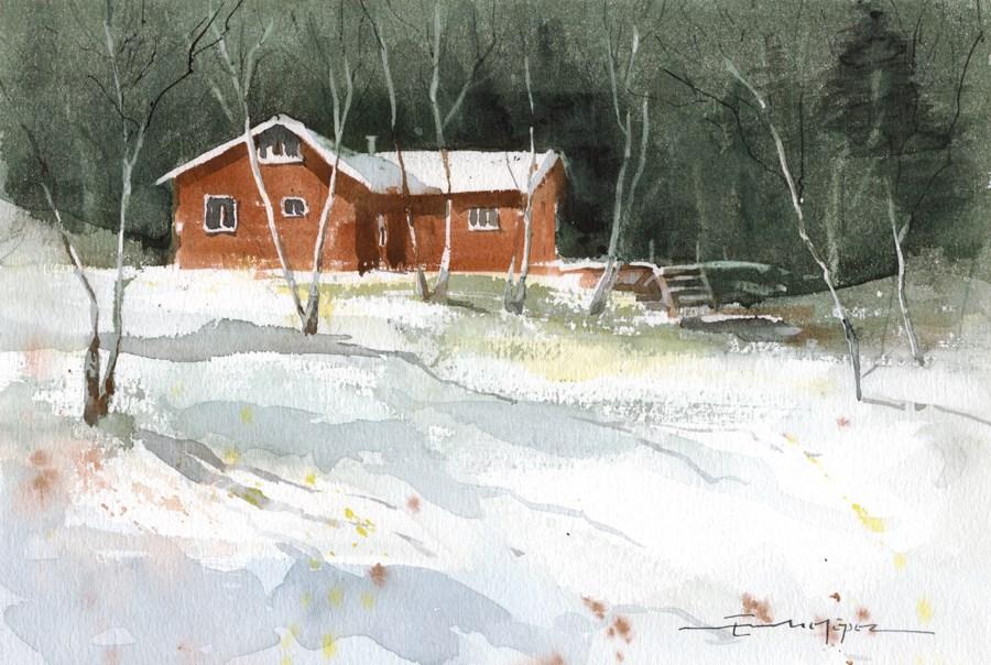 """""""Snowy 16"""" original fine art by Emilio López"""