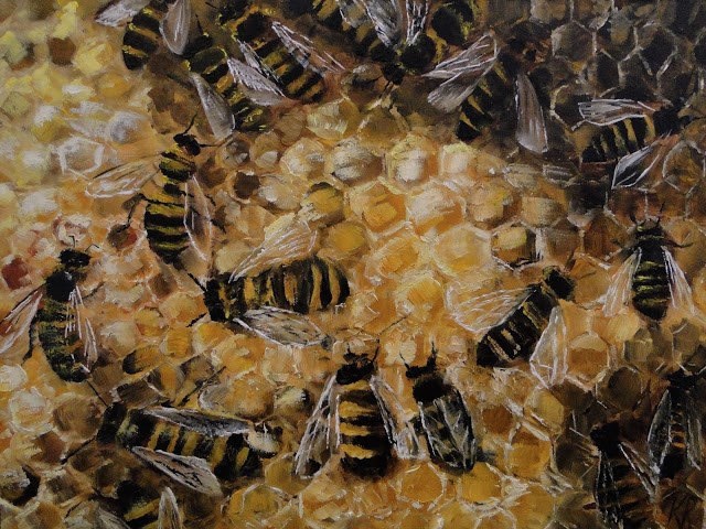 """Bees At Work"" original fine art by Karen Robinson"