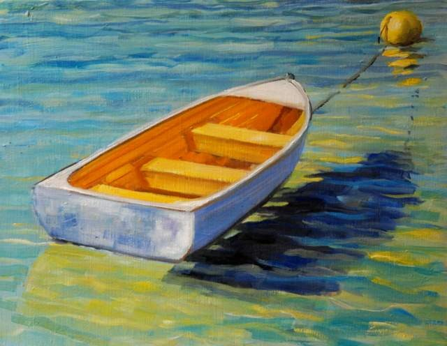 """Moored Row Boat"" original fine art by Christina Dowdy"