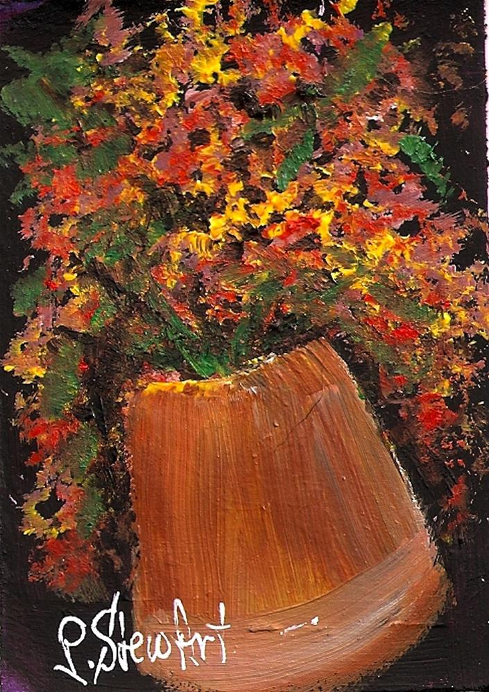 """ACEO Fall Colors in Metal Pot Original OOAK Acrylic Painting Miniature"" original fine art by Penny Lee StewArt"