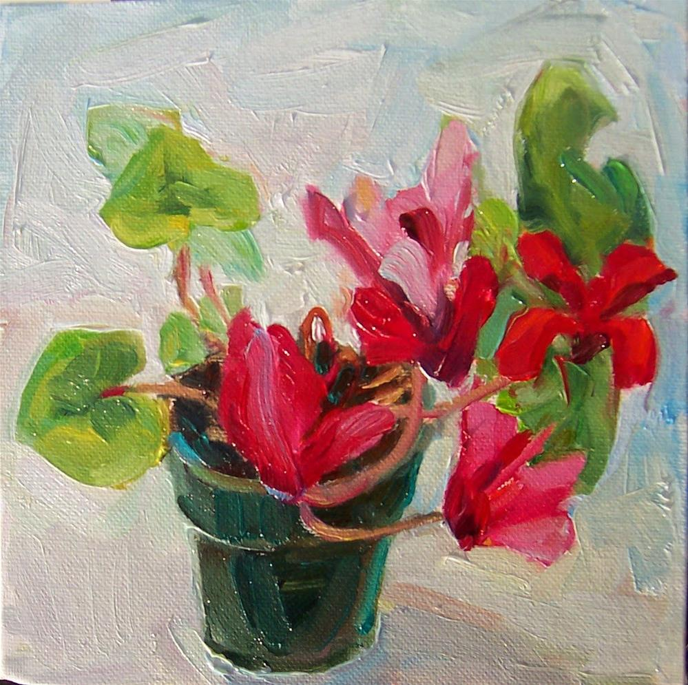"""December Cyclamen.still life, oil on canvas,8x8,price$250"" original fine art by Joy Olney"