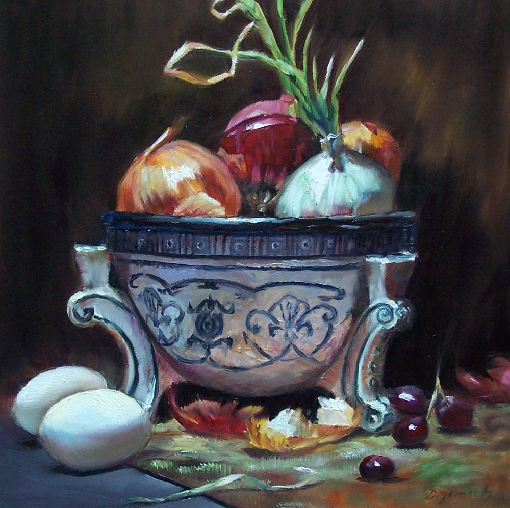 """Old World Onions and Eggs"" original fine art by Donna Munsch"