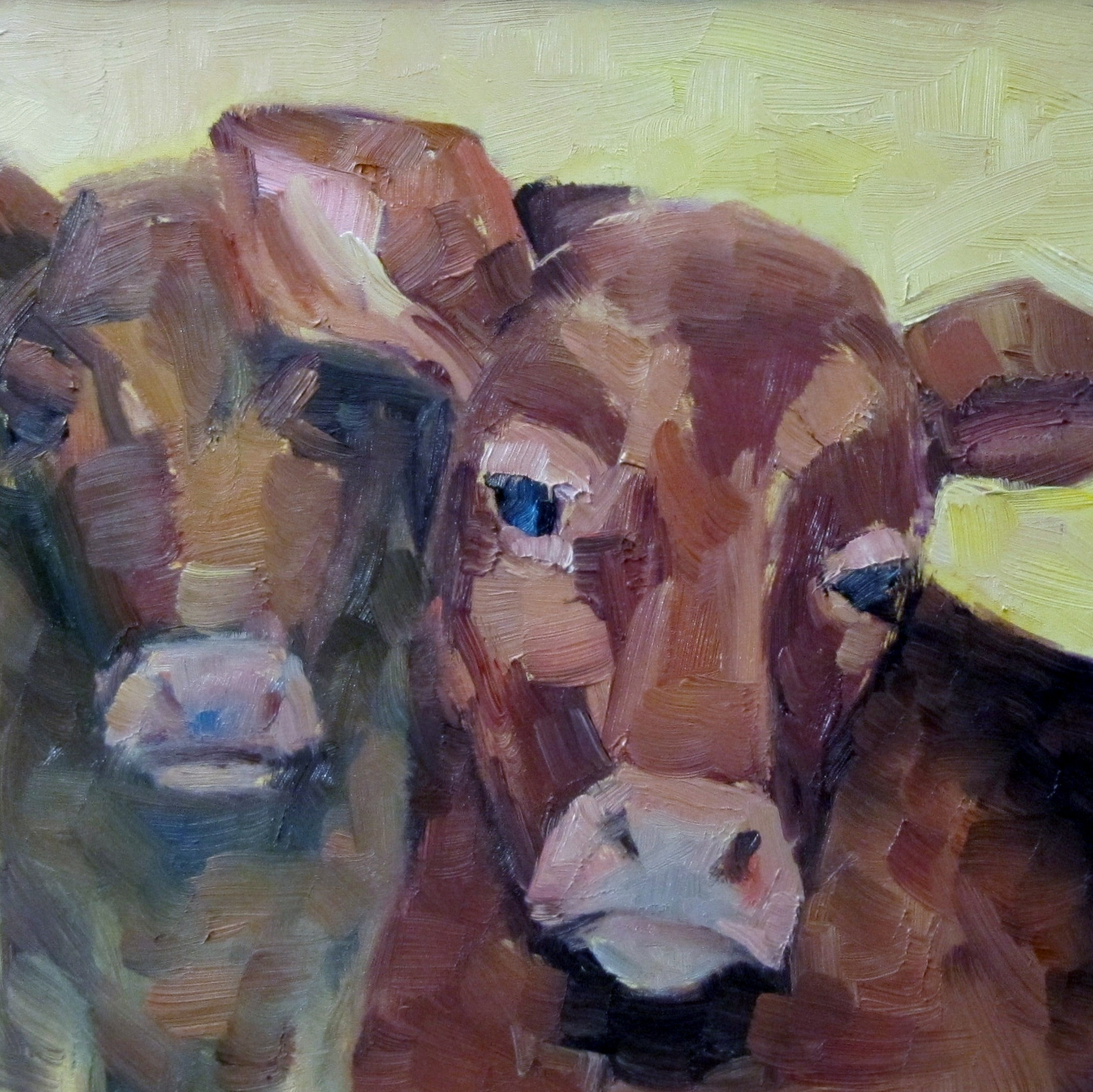 """The gentle Cow"" original fine art by Steinunn Einarsdottir"