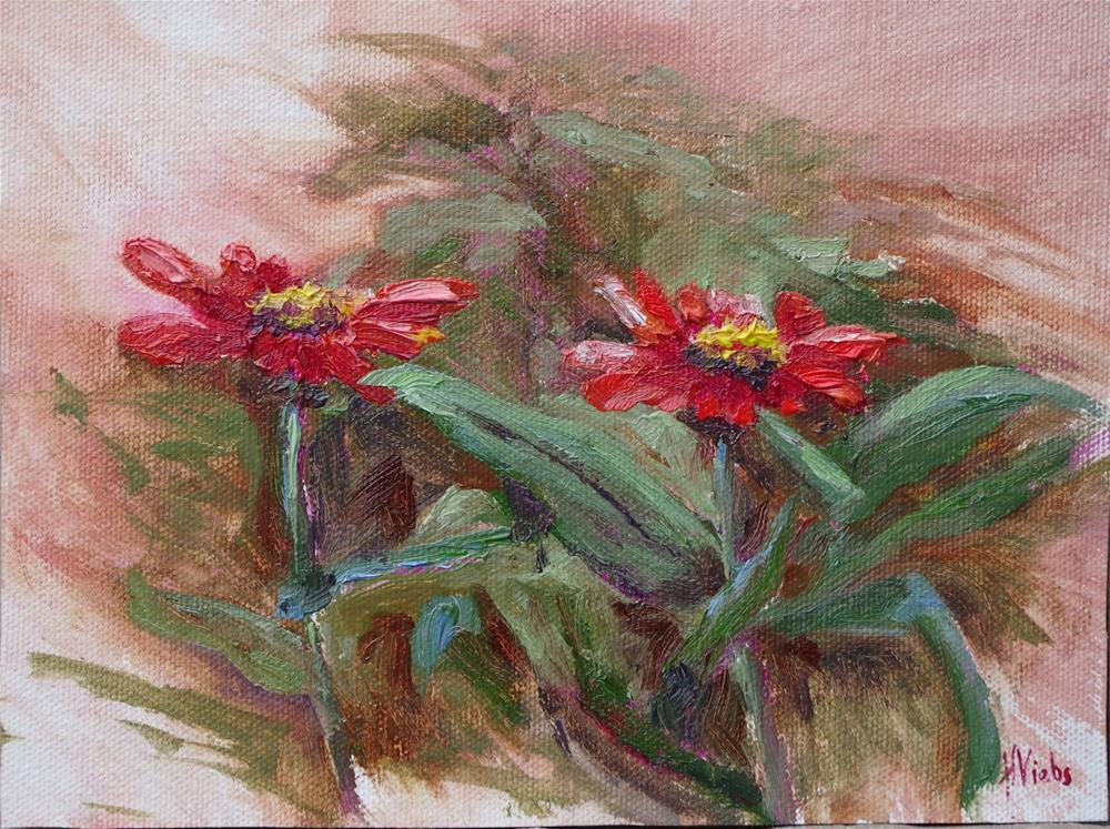 """Zinnia Friends"" original fine art by Helen Viebrock Hamel"