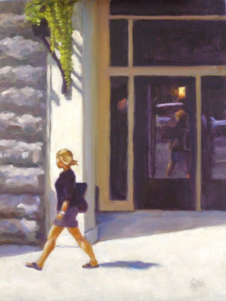 """City Girl, 9x12 Oil on Board"" original fine art by Carmen Beecher"