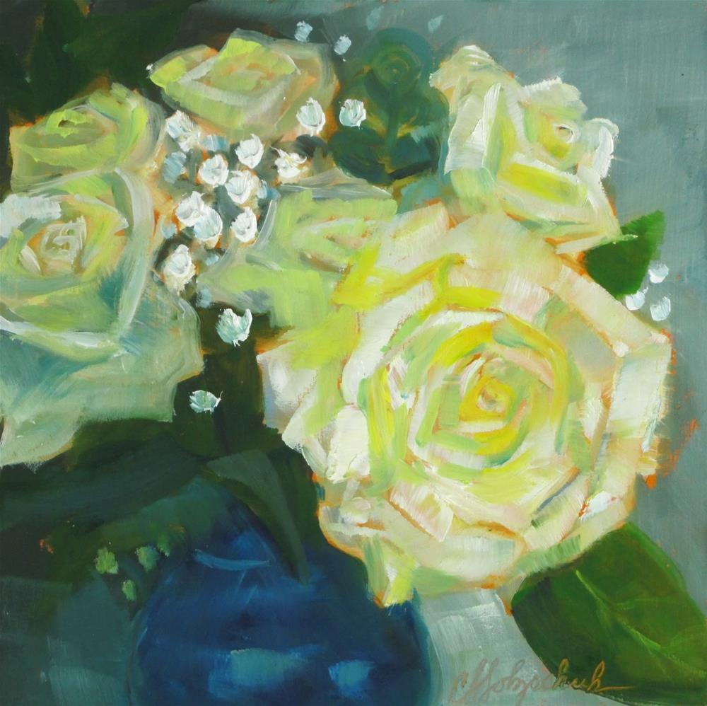 """White Roses"" original fine art by Christine Holzschuh"