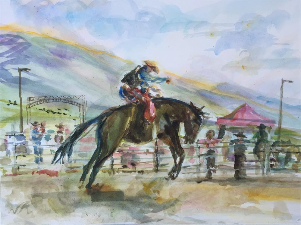 """Saddle Bronc Riding, Westcliffe, CO"" original fine art by jean krueger"
