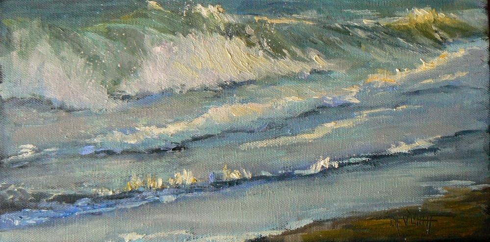"""Daily Seascape Painting, 6x12  The Sea"" original fine art by Carol Schiff"
