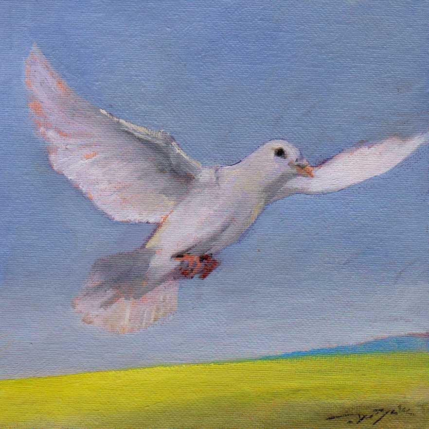 """dove of peace in Ukraine."" original fine art by V. DeBak"