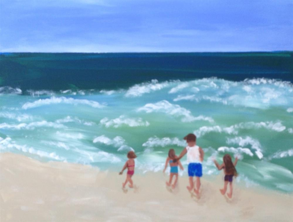 """Grandpa's Girls - Laguna Beach"" original fine art by Brenda Smith"