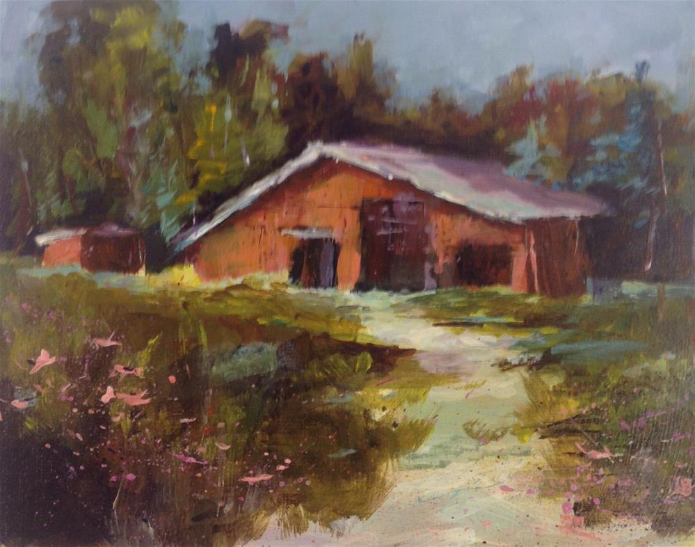 """Original barn acrylic painting"" original fine art by Alice Harpel"