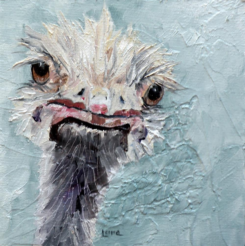 """DIMPLES AN OSTRICH IS AN ORIGINAL OIL ON TEXTURED CRADLED PANEL © SAUNDRA LANE GALLOWAY and a"" original fine art by Saundra Lane Galloway"