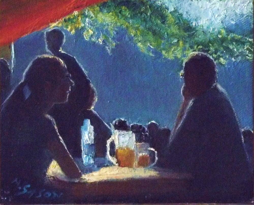 """In the beergarden"" original fine art by Michael Sason"