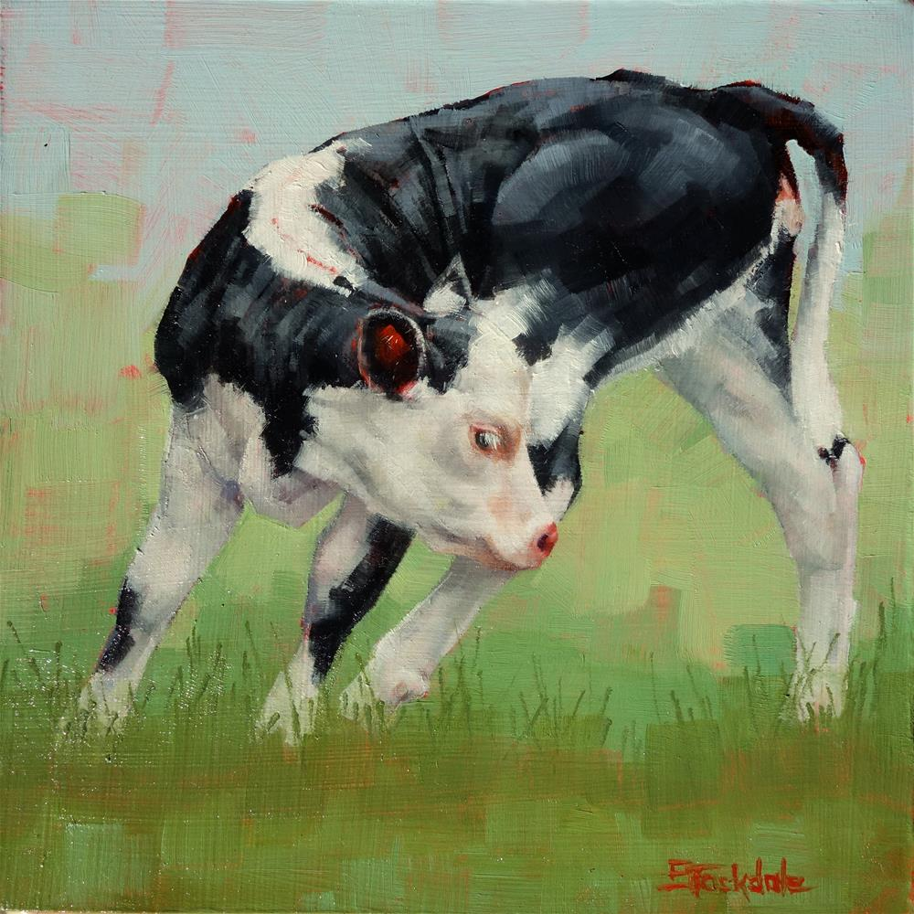 """Calf Contortions"" original fine art by Margaret Stockdale"