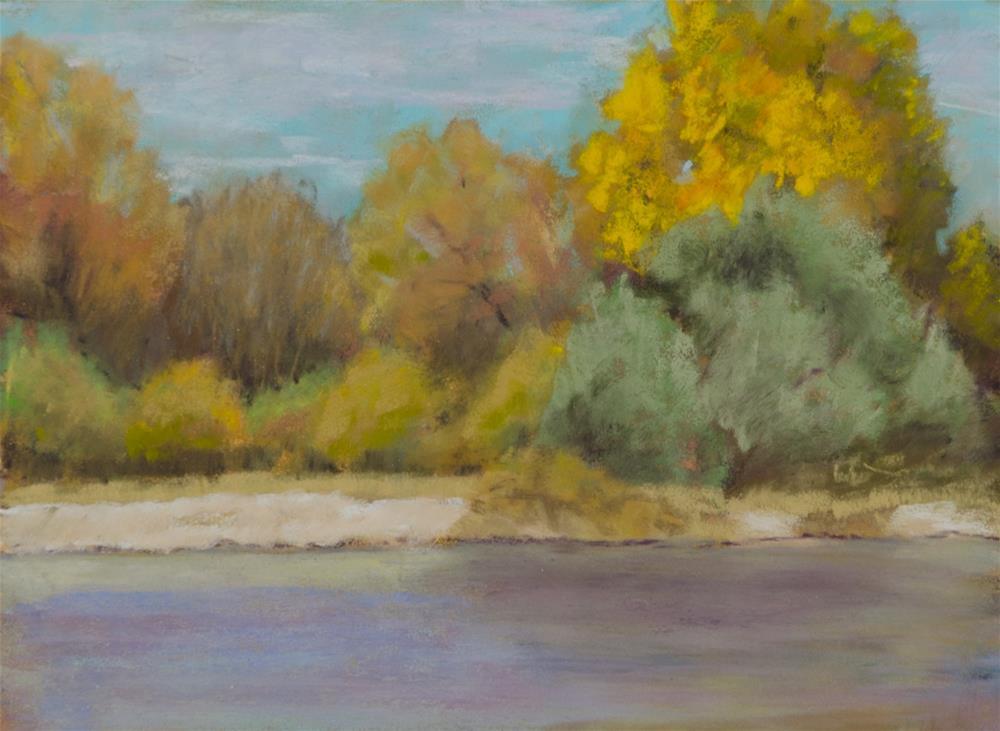 """""""Fall Along the River"""" original fine art by Nelia Harper"""