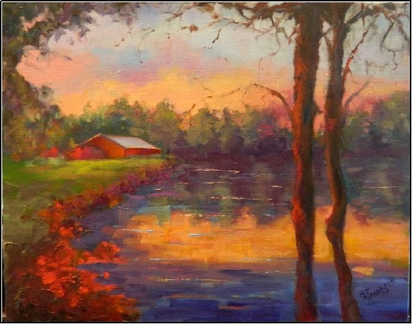 """The Pond at Horseshoe Farm, 11x14, paintings of ponds, reflections, trees, farm, stables, horses,"" original fine art by Maryanne Jacobsen"