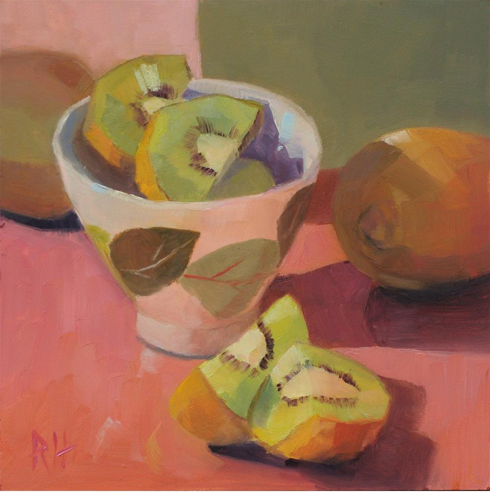 """Kiwis Dressed in Pink"" original fine art by Rebecca Helton"