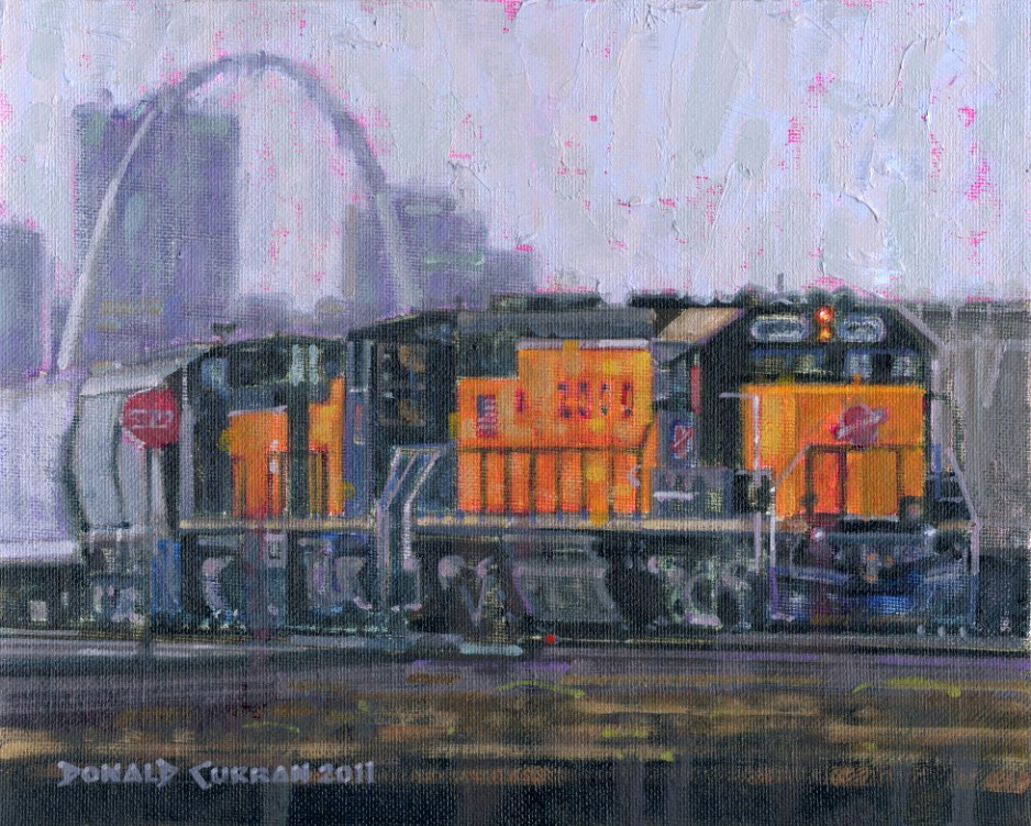 """St. Louis Train Yard"" original fine art by Donald Curran"