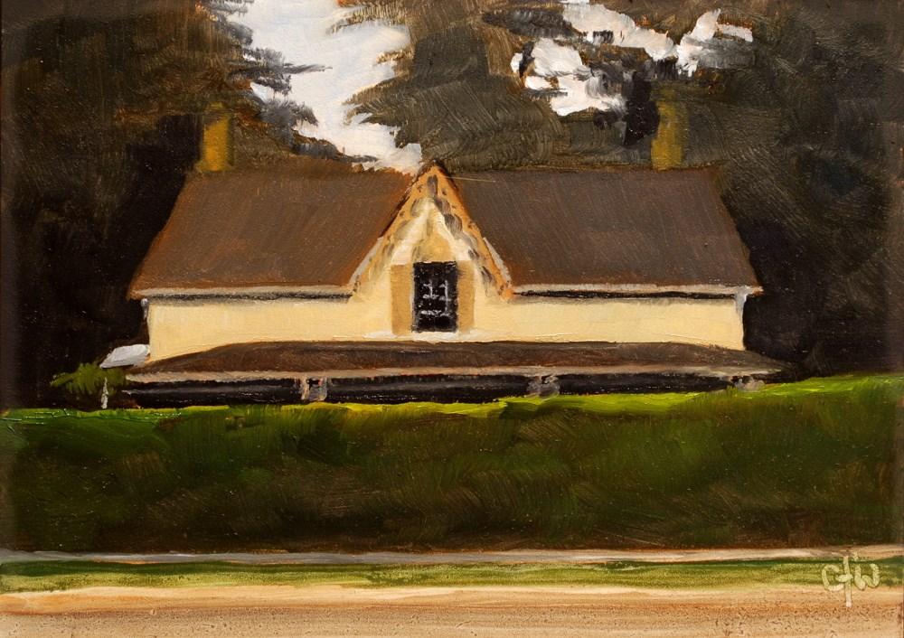 """House Behind the Hedge"" original fine art by Gary Westlake"