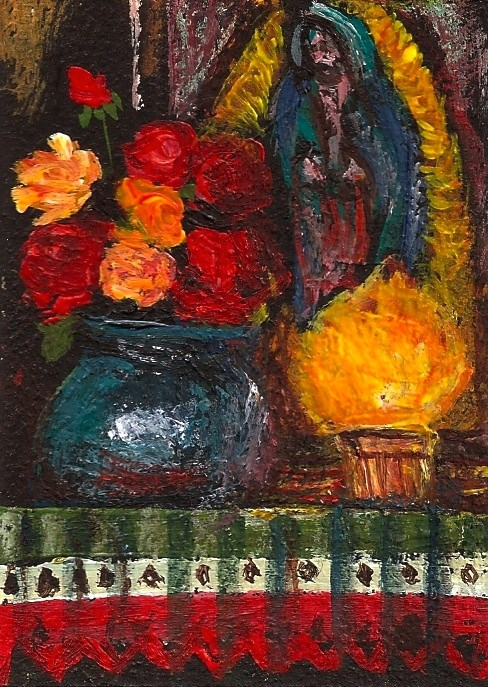 """ACEO Home Altar Mexican Cocina Jesus Helguera Style Miniature Penny StewArt"" original fine art by Penny Lee StewArt"