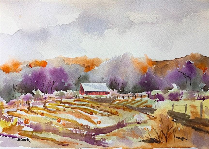 """""""Pumpkin Patch"""" original fine art by Judith Freeman Clark"""