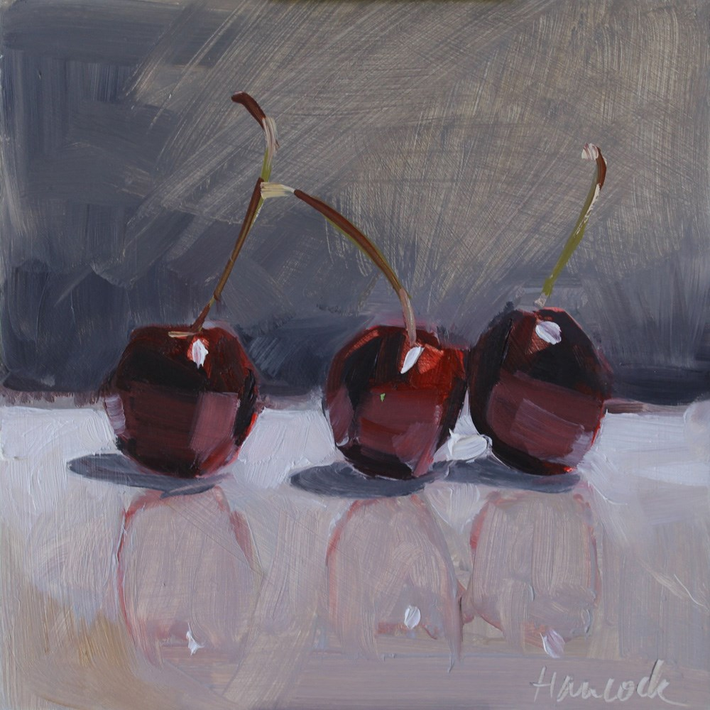 """Dark Cherries on Gray"" original fine art by Gretchen Hancock"
