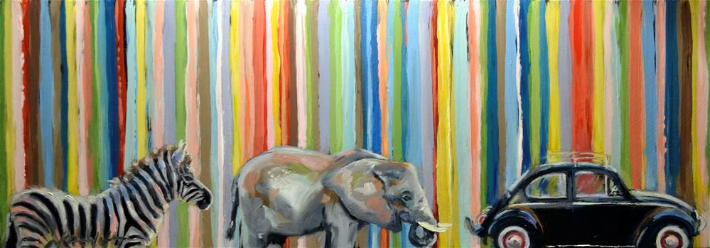 """Zebra, Elephant, Bug"" original fine art by Karen Weber"