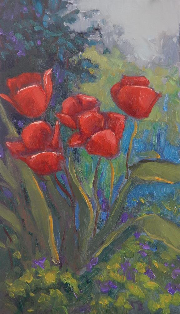 """Tulips in the Garden"" original fine art by Lisa Kyle"