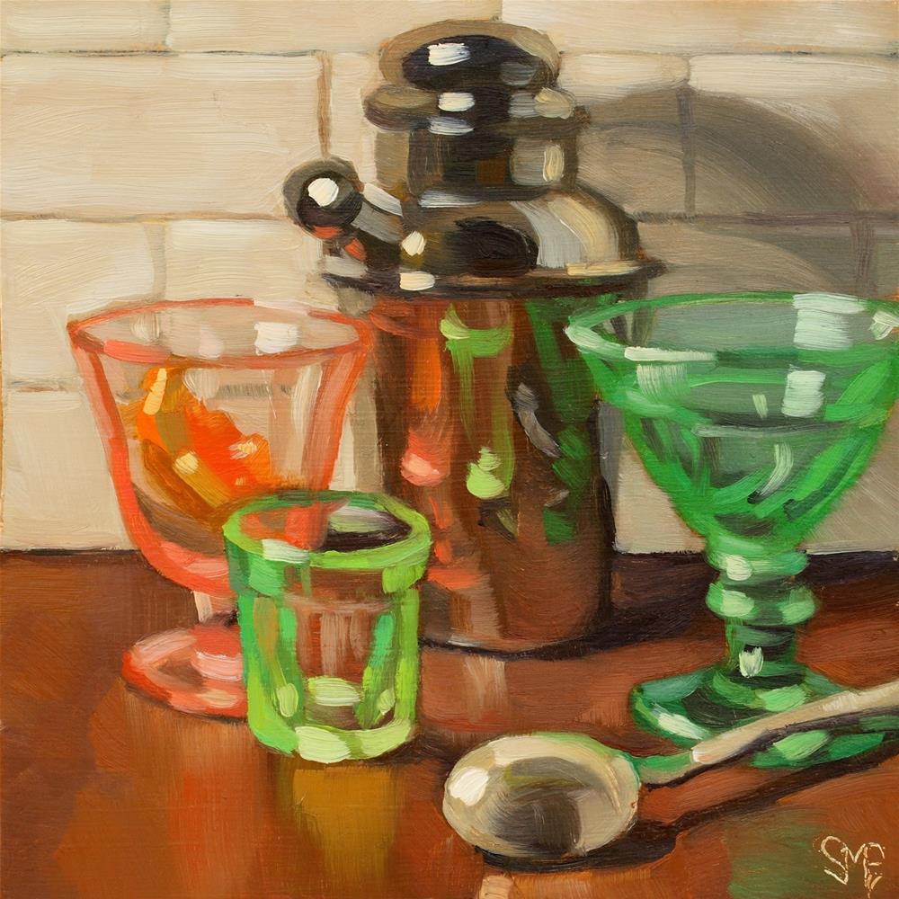 """""""Shaken? Or Stirred?"""" original fine art by Sheila Evans"""