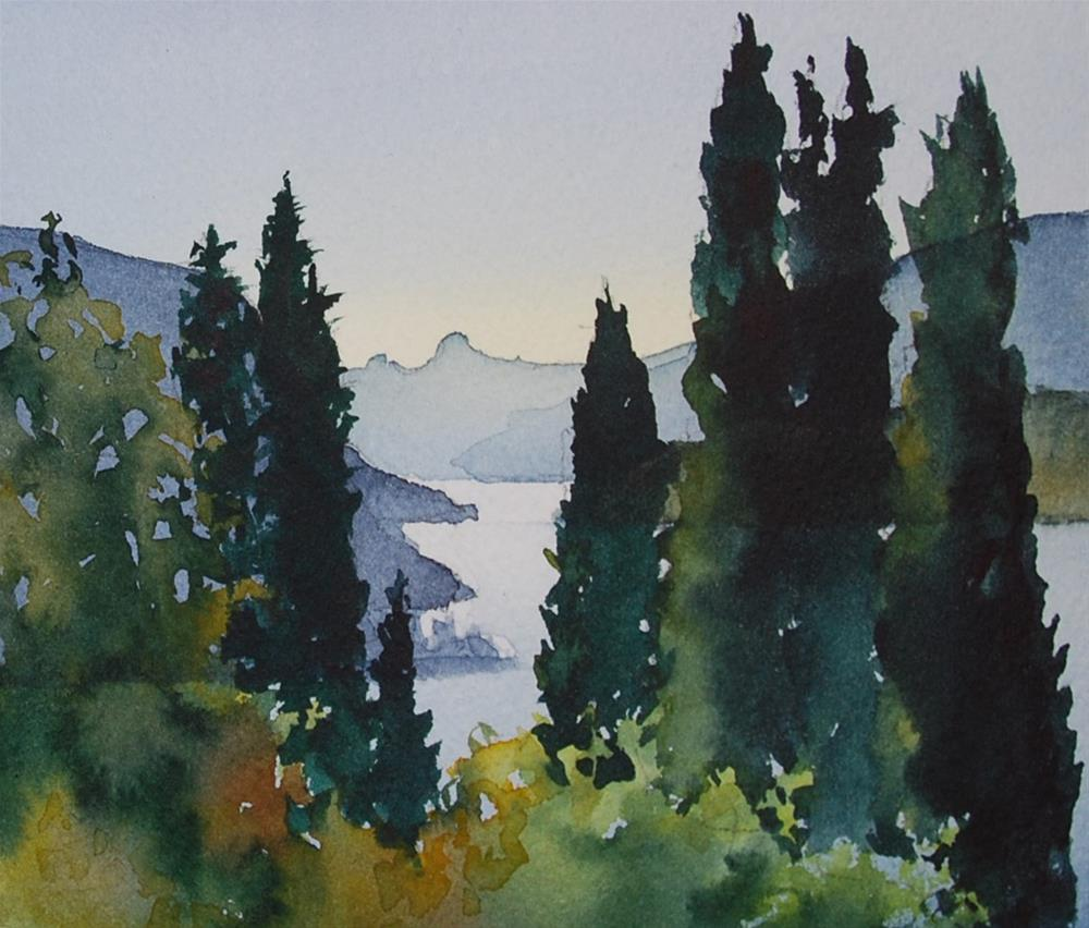 """Italian Cypress"" original fine art by Mary Anderson"