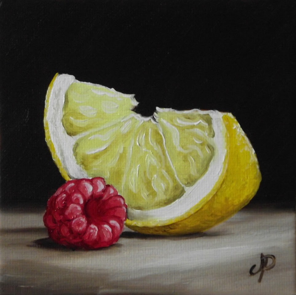 """Lemon slice with Raspberry"" original fine art by Jane Palmer"