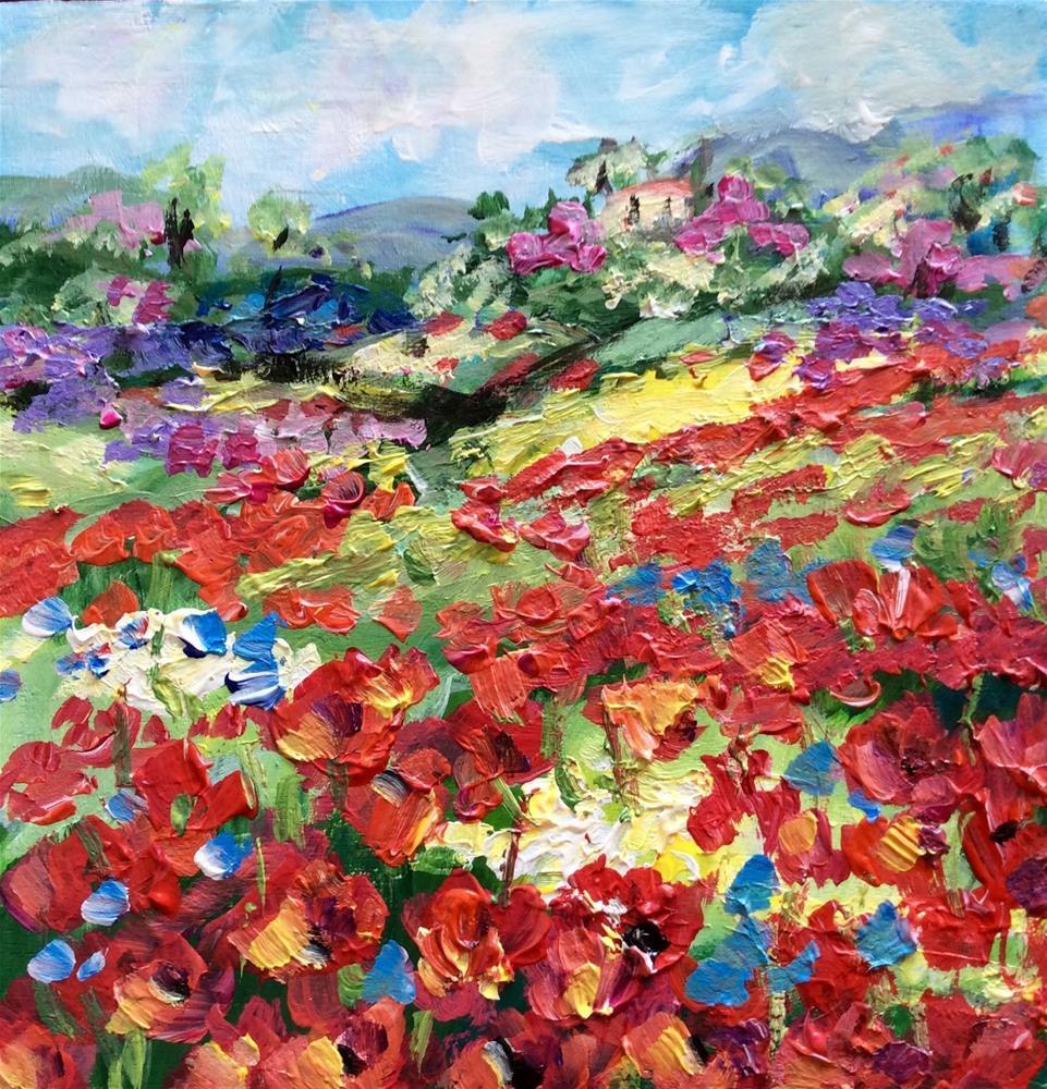 """""""Meditarranean poppies"""" original fine art by Sonia von Walter"""