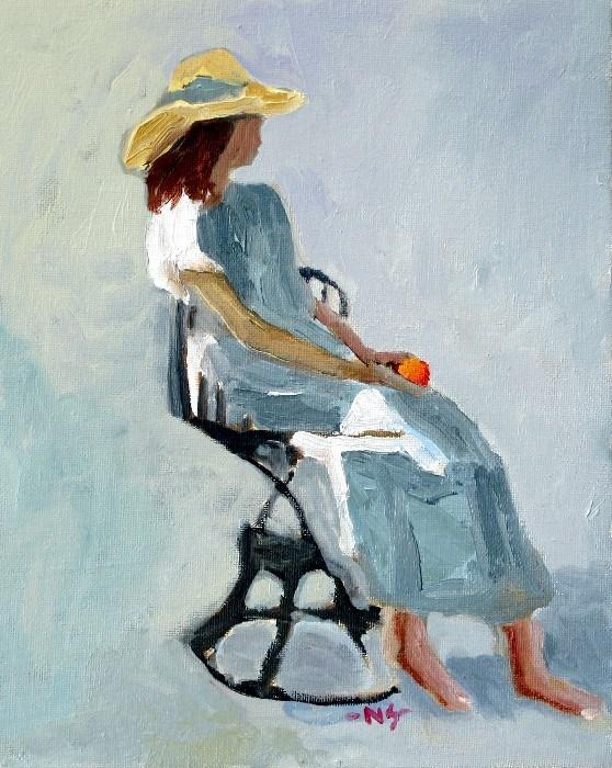 Girl with Orange 12040 (framed) original fine art by Nancy Standlee